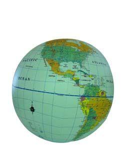 Aufblasbarer Globus 40cm Durchmesser, hellblaues Meer