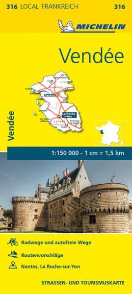 Michelin local 316 Vendee, Loire-Atlantique Straßenkarte 1:150.000
