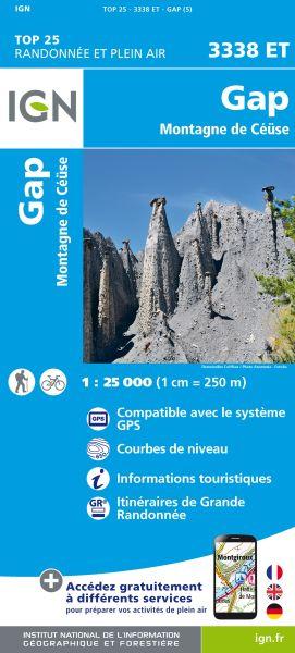 IGN 3338 ET Gap, Montagne de Ceüse, Frankreich Wanderkarte 1:25.000