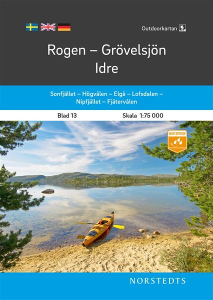 Rogen - Grövelsjön - Idre, Outdoorkartan Blatt 13, Schweden Wanderkarte 1:75.000