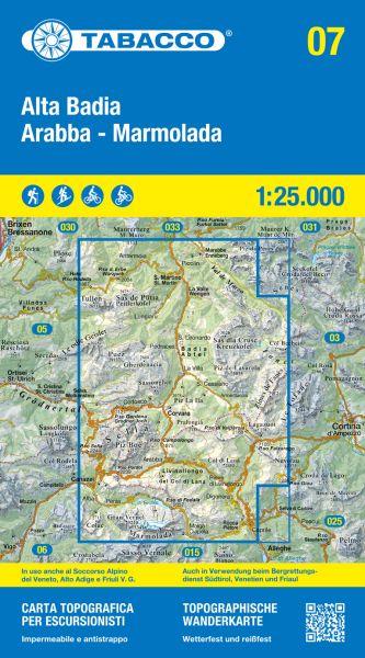 Tabacco 07 Alta Badia - Arabba - Marmolada Wanderkarte 1:25.000