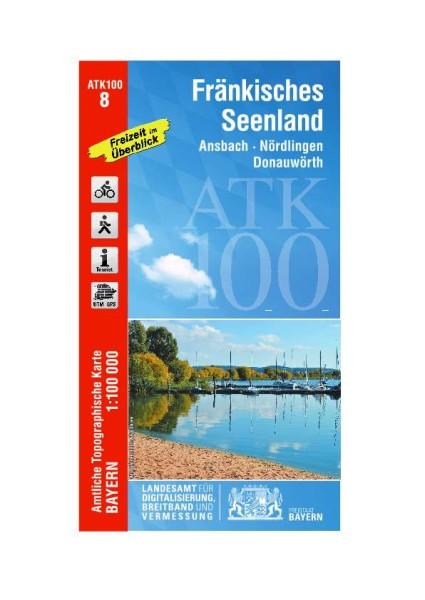 ATK100 Blatt 8 Fränkisches Seenland, Freizeitkarte, 1:100.000 amtliche topographische Karte