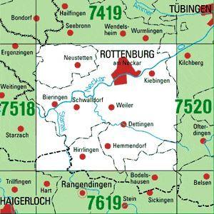 7519 ROTTENBURG A.N. topographische Karte 1:25.000 Baden-Württemberg, TK25