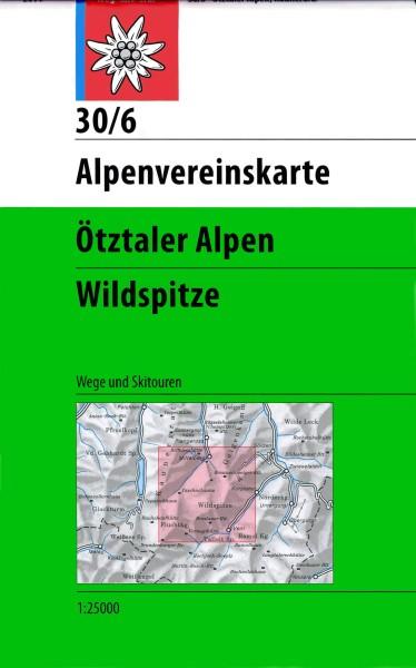 DAV Alpenvereinskarte 30/6 Ötztaler Alpen, Wildspitze, Ski- und Wanderkarte 1:25.000