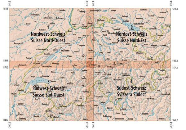 Topographische Karten der Schweiz 1:200.000 (Bl.1-4 im Set)