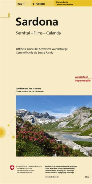 247 T Sardona Wanderkarte 1:50.000 wasserfest - Swisstopo