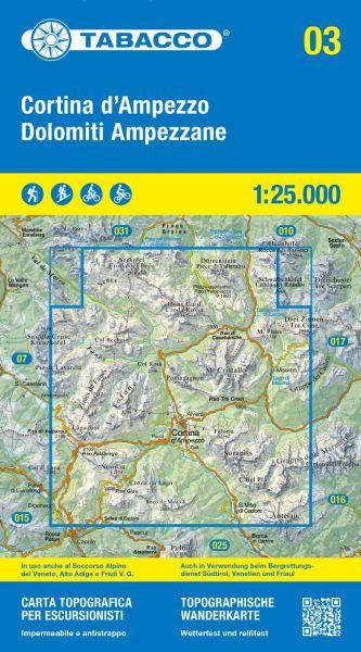 Tabacco 03 Cortina d'Ampezzo e Dolomiti Ampezzane Wanderkarte 1:25.000