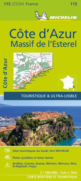 Michelin 115 Cote d' Azur, Esterelmassiv; Cote d' Azur, Straßenkarte 1:100.000