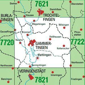 7721 GAMMERTINGEN topographische Karte 1:25.000 Baden-Württemberg, TK25