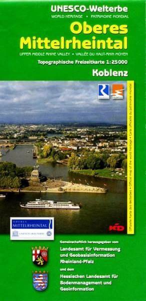 Oberes Mittelrheintal topographische Wanderkarte: Koblenz 1:25.000