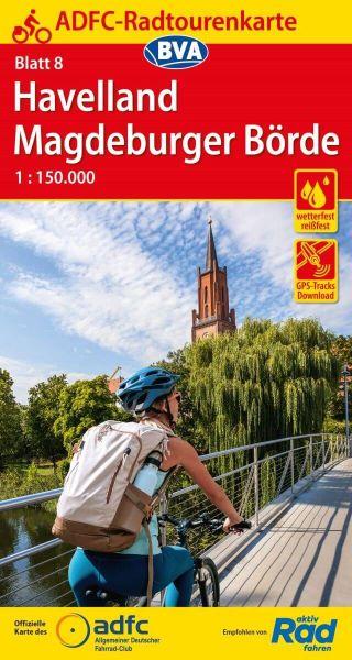 ADFC Radtourenkarte 8, Havelland - Magdeburger Börde Radwanderkarte 1:150.000