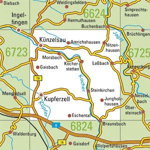6724 KÜNZELSAU topographische Karte 1:25.000 Baden-Württemberg, TK25