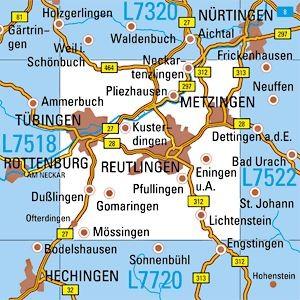 L7520 Reutlingen Topographische Karte 1 50 000 Tk50 Bw