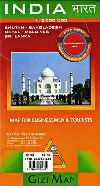 Indien, Bhutan, Bangladesh, Nepal, Malediven, Sri Lanka physische Straßenkarte 1:3.000.000 Gizi Map