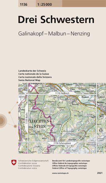 1136 Drei Schwestern, topographische Wanderkarte Schweiz 1:25.000