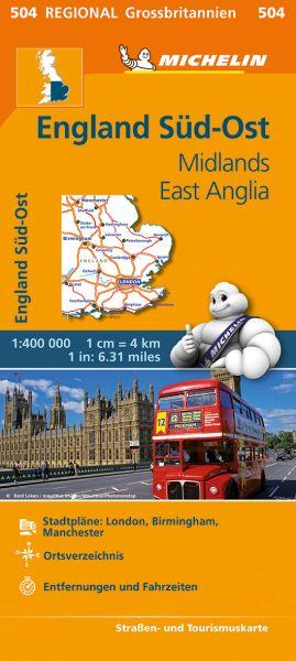 Michelin 504 England Süd-Ost, Midlands, East Anglia 1:400.000 Straßenkarte