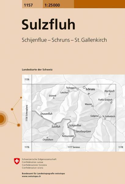 1157 Sulzfluh topographische Karte Schweiz 1:25.000