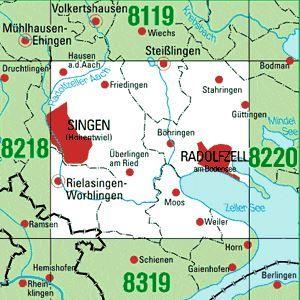 8219 SINGEN (HOHENTWIEL) topographische Karte 1:25.000 Baden-Württemberg, TK25