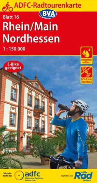 ADFC Radtourenkarte 16, Rhein - Main - Nordhessen Radwanderkarte 1:150.000
