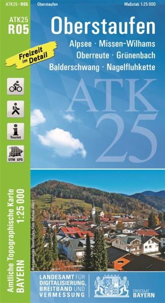 ATK25 R05 Oberstaufen, 1:25.000 amtliche topographische Karte mit Wander- und Radwegen, Bayern