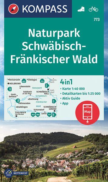 Kompass Karte 773, Naturpark Schwäbisch-Fränkischer Wald 1:40.000, Wandern, Rad fahren