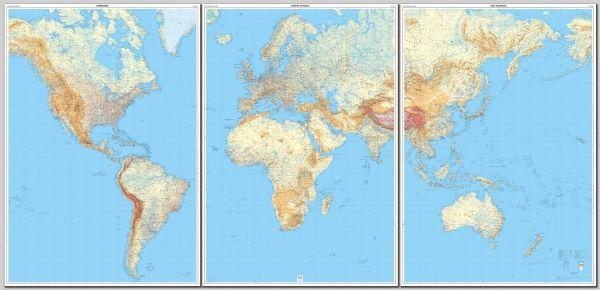 Riesige Weltkarte physisch von IGN in 3 Teilen - plastifiziert - 289x143 cm