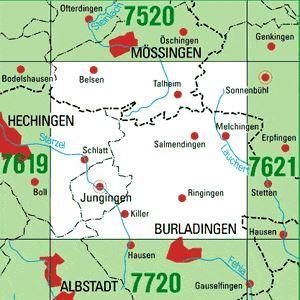 7620 JUNGINGEN, Topographische Karte Baden-Württemberg, TK25; 1:25000