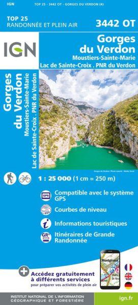 IGN 3442 OT Gorges du Verdon, Frankreich Wanderkarte 1:25.000
