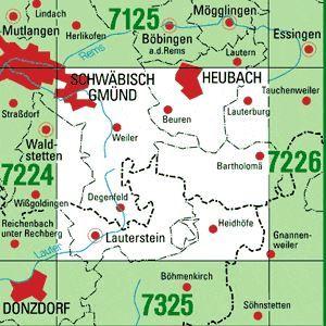 7225 HEUBACH topographische Karte 1:25.000 Baden-Württemberg, TK25
