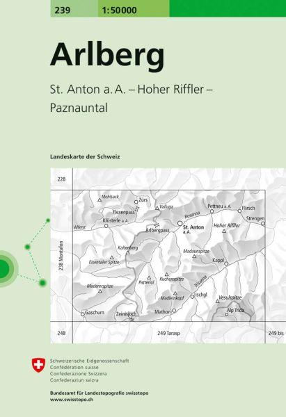 239 Arlberg topographische Wanderkarte Schweiz 1:50.000