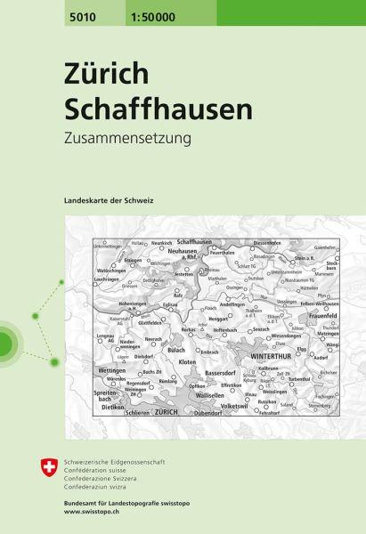 5010 Zürich - Schaffhausen topographische Wanderkarte Schweiz 1:50.000