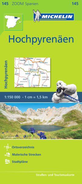 Michelin zoom 145 Hochpyrenäen Straßenkarte 1:150.000