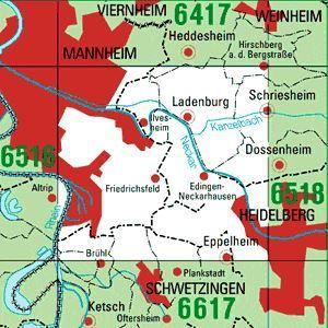 6517 MANNHEIM-SÜDOST topographische Karte 1:25.000 Baden-Württemberg, TK25