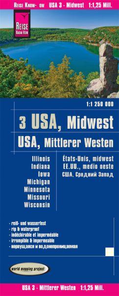 USA 3 Mittlerer Westen Landkarte 1.1.250.000, Reise Know-How