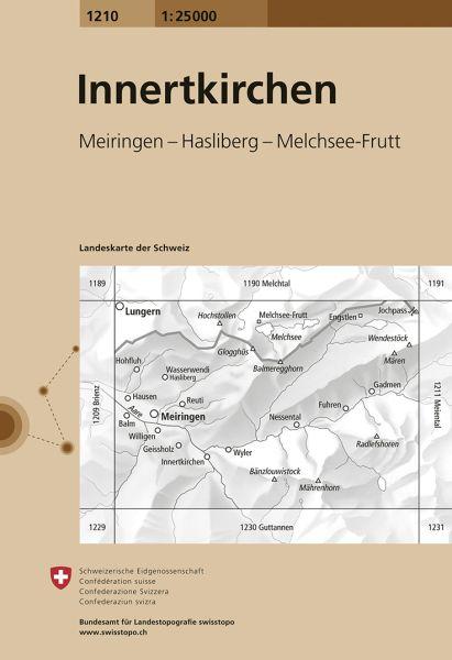 1210 Innertkirchen topographische Wanderkarte Schweiz 1:25.000
