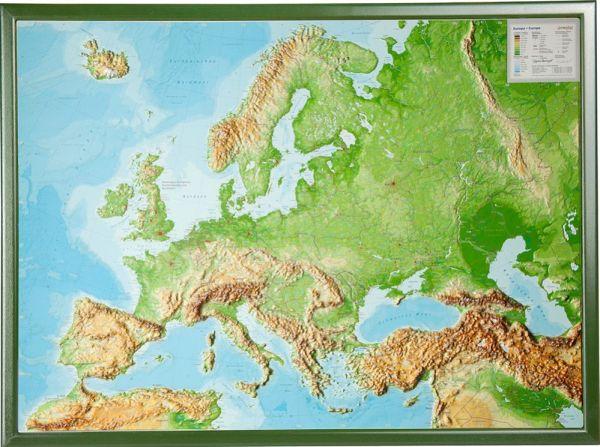 Europa Relief groß mit Holzrahmen – 77 cm x 57 cm