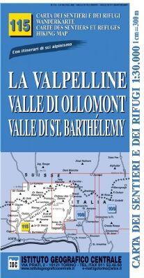 IGC 115 - Wanderkarte für La Valpelline - Valle di Ollomont - Valle di St. Barthelemy 1:30.000