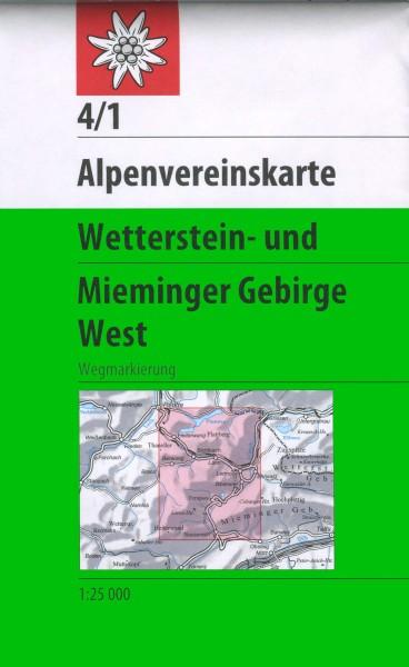 DAV Alpenvereinskarte 4/1 Wetterstein- und Mieminger Gebirge West, Wanderkarte 1:25.000