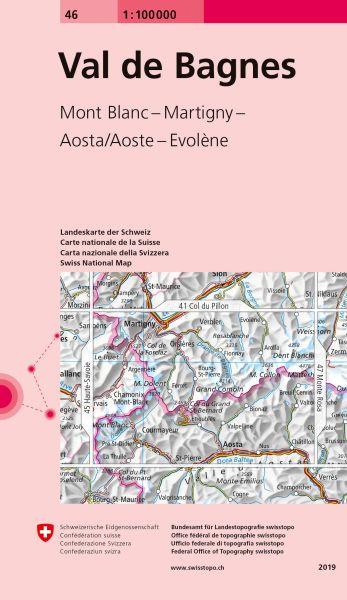 46 Val de Bagnes topographische Karte Schweiz 1:100.000