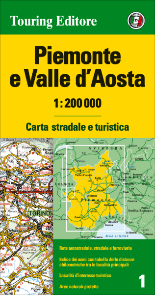 Piemont und Aostatal Straßenkarte 1:200.000, TCI 1