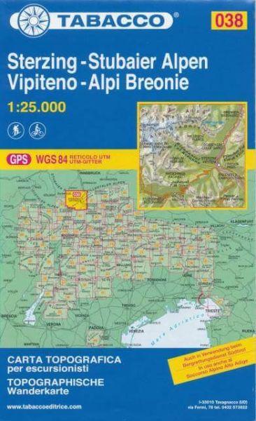 Tabacco 038 Sterzing - Stubaier Alpen Wanderkarte 1:25.000