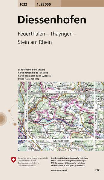 1032 Diessenhofen, topographische Wanderkarte Schweiz 1:25.000