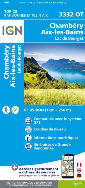 IGN 3332 OT Chambery, Aix-les-Bains, Frankreich Wanderkarte 1:25.000