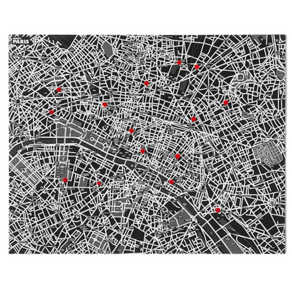PIN CITY Paris black: Die coole Vlieskarte für Reiseerlebnisse 100 x 80 cm