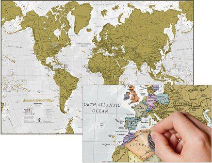 Scratch Map Welt - Rubbelweltkarte - mit Gebirgs Schummerung84,10cm x 59,40cm