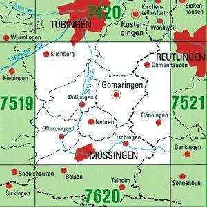 7520 MÖSSINGEN topographische Karte 1:25.000 Baden-Württemberg, TK25