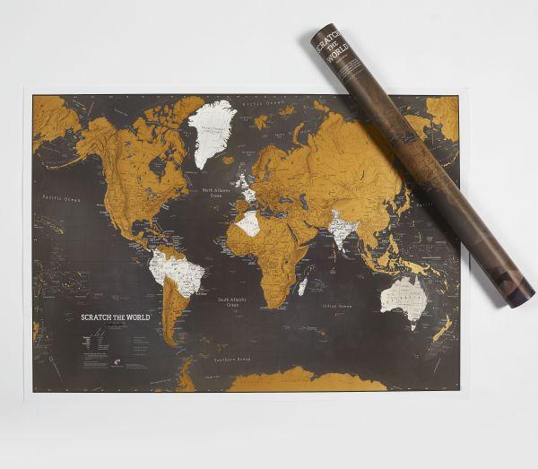 Scratch Map Welt Black Edition - Rubbelweltkarte schwarz - mit Gebirgs Schummerung 84,10cm x 59,40cm