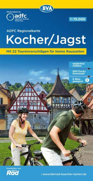 ADFC-Regionalkarte Kocher Jagst, Radwanderkarte 1:75.000