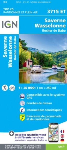 IGN 3715 ET Wasselonne, Frankreich topographische Wanderkarte 1:25.000