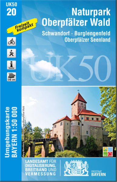UK50-20 Naturpark Oberpfälzer Wald Rad- und Wanderkarte 1:50.000 - Umgebungskarte Bayern